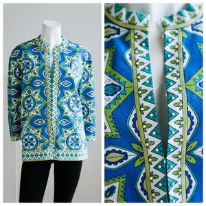 Chicos Abstract Print Beaded Colourful Blazer